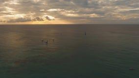 Att segla seglar på solnedgången lager videofilmer