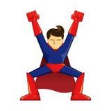 Att segra för Superhero poserar Royaltyfria Bilder