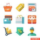 Att shoppa den plana symbolen ställde in för rengöringsduken och mobilen Applicat Arkivbild
