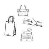 Att shoppa och marknaden skissar symbolsuppsättningen Arkivbild