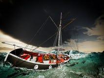 Att sjunka piratkopierar brigantinen Fotografering för Bildbyråer