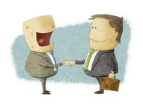 Att skaka räcker på neende överenskommelse Vektor Illustrationer