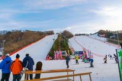 Att skida på Vivaldi parkerar Ski Resort Arkivbild