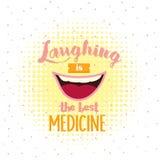 Att skratta är de bästa medicinmotivationcitationstecknen, affisch somtext om leende blidkar inte stressat Royaltyfria Foton