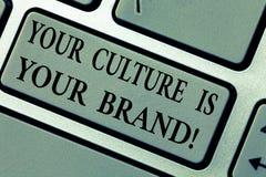 Att skriva anmärkningen som visar din kultur, är ditt märke E arkivfoton