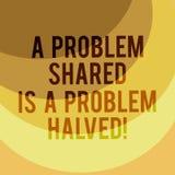 Att skriva anmärkningen som visar ett problem Shared, är ett halverat problem Affärsfotoet som ställer ut kommunikation, gör sake royaltyfri illustrationer