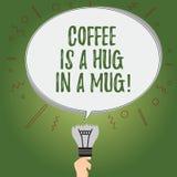 Att skriva anmärkningen som visar kaffe, är en kram i rånar Affärsfoto som ställer ut uttrycka förälskelsekänslor, genom att ge s vektor illustrationer