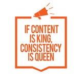 Att skriva anmärkningsvisning, om innehållet är konungen, konsistens är drottningen Affärsfoto som ställer ut megafonen för övert stock illustrationer