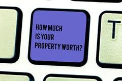 Att skriva den hur mycket anmärkningsvisningen är din egenskap Worthquestion Att ställa ut för affärsfoto upprättar priset av royaltyfri foto