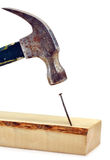 att slå för hammarehuvud spikar Fotografering för Bildbyråer