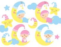 Att sova behandla som ett barn på månen stock illustrationer