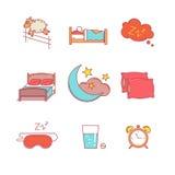Att sova läggdags vilar och bäddar ned den tunna linjen symbolsuppsättning stock illustrationer