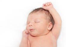 Att sova som är nyfött, behandla som ett barn pojken Arkivfoto