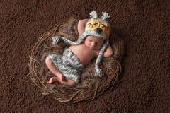 Att sova som är nyfött, behandla som ett barn pojken som bär en Owl Hat Royaltyfri Fotografi