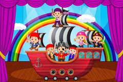 Att spela för ungar piratkopierar på etapp Arkivbilder