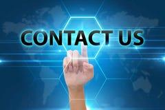 Att trycka på för affärshand kontaktar oss knappen Arkivbild