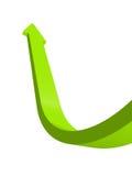 Att växa stiger upp den gröna pilen som isoleras på vit bakgrund Royaltyfri Bild