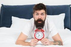 Att vakna upp ger tidigt mer tid att f?rbereda sig och vara i r?tt tid L?gger den sk?ggiga mannen f?r hipsteren i s?ng med ringkl royaltyfri foto