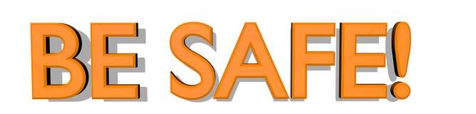 ATT VARA SÄKERT! text 3D i djärv apelsin på vit bakgrund royaltyfri illustrationer