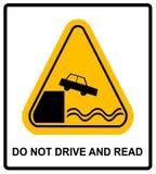 Att varna kör inte och läser royaltyfri illustrationer