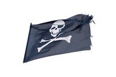 Att vinka piratkopierar flaggan glade roger som isoleras på vit Fotografering för Bildbyråer