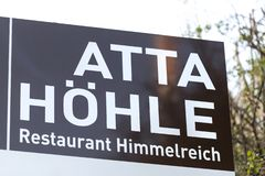 Atta cave sign in attendorn germany. Attendorn, North Rhine-Westphalia/germany - 18 04 19: atta cave sign in attendorn germany royalty free stock image