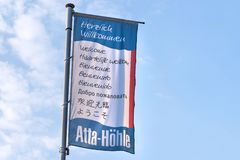 Atta cave sign in attendorn germany. Attendorn, North Rhine-Westphalia/germany - 18 04 19: atta cave sign in attendorn germany stock image