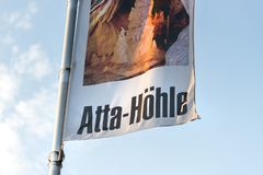 Atta cave sign in attendorn germany. Attendorn, North Rhine-Westphalia/germany - 18 04 19: atta cave sign in attendorn germany royalty free stock photo