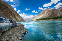 Attabad sjö Pakistan Arkivbilder