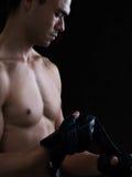 Attaccando sui guanti Fotografia Stock Libera da Diritti