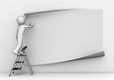 Attaccare manifesto grigio in bianco Immagine Stock Libera da Diritti