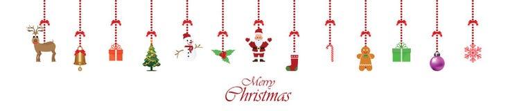 Attaccatura dell'ornamento della decorazione di Natale isolata su bianco Fotografia Stock