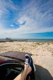 Attaccatura intorno alla spiaggia fotografia stock