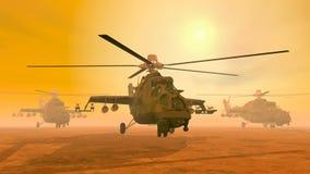 Attacchi con elicottero sovietici Fotografia Stock Libera da Diritti