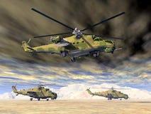 Attacchi con elicottero sovietici della guerra fredda Fotografie Stock Libere da Diritti
