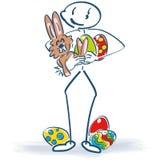 Attacchi la figura con il coniglietto di pasqua e le uova di Pasqua Fotografia Stock Libera da Diritti