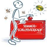 Attacchi la figura con un bottone rosso e una vendita dell'estate illustrazione di stock