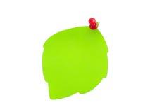 Attacchi sotto forma d'un foglio verde con un tasto Fotografia Stock