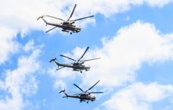 Attacco con elicottero di distruzione di 3 Mi-28N Fotografia Stock