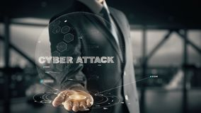 Attacco cyber con il concetto dell'uomo d'affari dell'ologramma Immagine Stock