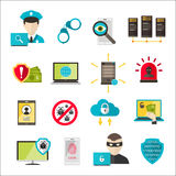 Attacco cyber del virus delle icone di sicurezza di Internet Fotografia Stock