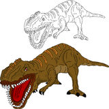 Attacco del dinosauro Fotografia Stock Libera da Diritti
