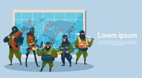 Attacco del mondo di pianificazione armato il terrorismo della mitragliatrice dell'arma di Black Mask Hold del terrorista Fotografia Stock