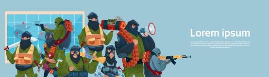Attacco del mondo di pianificazione armato il terrorismo della mitragliatrice dell'arma di Black Mask Hold del terrorista Fotografie Stock Libere da Diritti