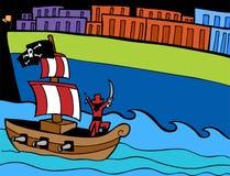 Attacco del pirata illustrazione vettoriale