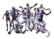 Attacco della folla dello zombie Fotografie Stock