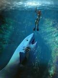 Attacco dello squalo Fotografia Stock Libera da Diritti