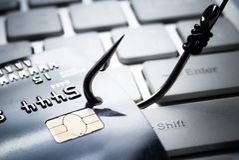 Attacco phishing della carta di credito Fotografie Stock Libere da Diritti