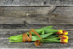 Attaché avec un bouquet de mesure de bande des tulipes fleurit sur un fond en bois Juste plu en fonction Image stock