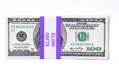 Attaché cents billets d'un dollar Images libres de droits